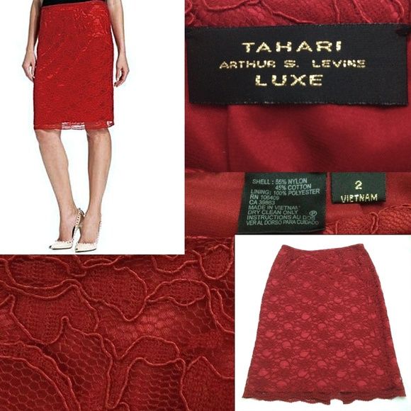 92231458f7 Tahari Skirts   Arthur S Levine Ruby Red Lace Pencil Skirt   Poshmark